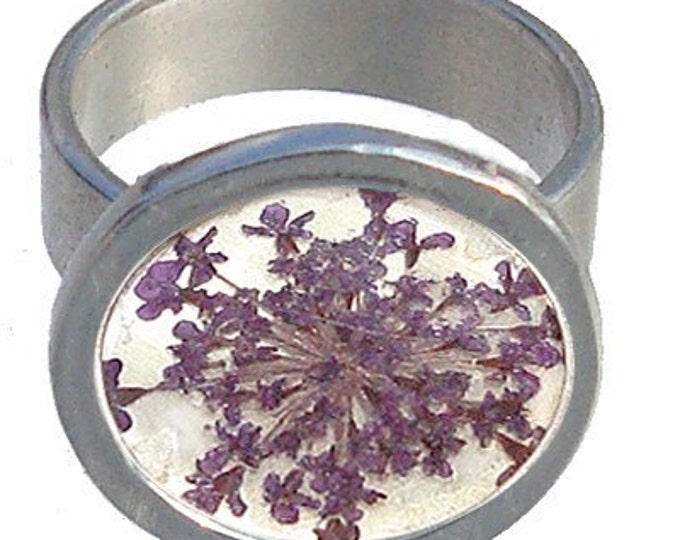 Purple Queen Ann's Lace/Sterling Silver Ring