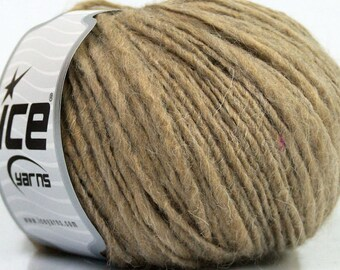 Wool Blend Yarn - Beige - Tan - Melange - Worsted Weight Yarn - Thick and Thin Yarn - Roving Wool - Flamme Yarn - ICE Yarn Fiammato - #39177
