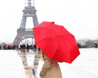 Paris Photography, Spring in Paris, Red Umbrella in Paris, Eiffel Tower, Paris in the rain, Paris Red Wall Art, Ruby Red, Valentines Day