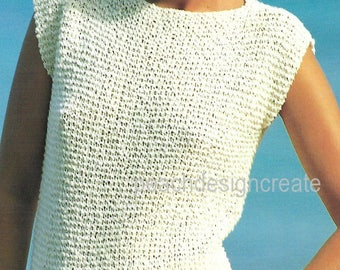 Patterns blueprints etsy knitting pattern pdf womens ladies cotton knit top sizes 26 40 inch retro fashion easy knit digital download malvernweather Image collections