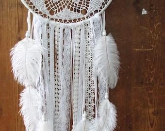 Large white doily dream catcher, white crochet dream catcher, boho white wall hanging, boho wedding decor, crochet wall hanging, boho chic