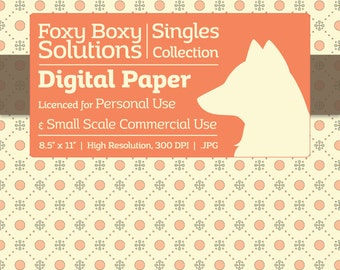 Pastel Polka Dot Floral Diamond Digital Paper - Single Sheet in Pastel Blue & Orange on a Cream Background - Printable Scrapbooking Paper