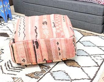 MOROCCAN KILIM POUF Pouffe Extra Large Floor Cushion Pillow Cover Handmade Handwoven 60 cm x 60 cm x 25 cm  / 25.6''x 25.6''x 10'' (KP21)