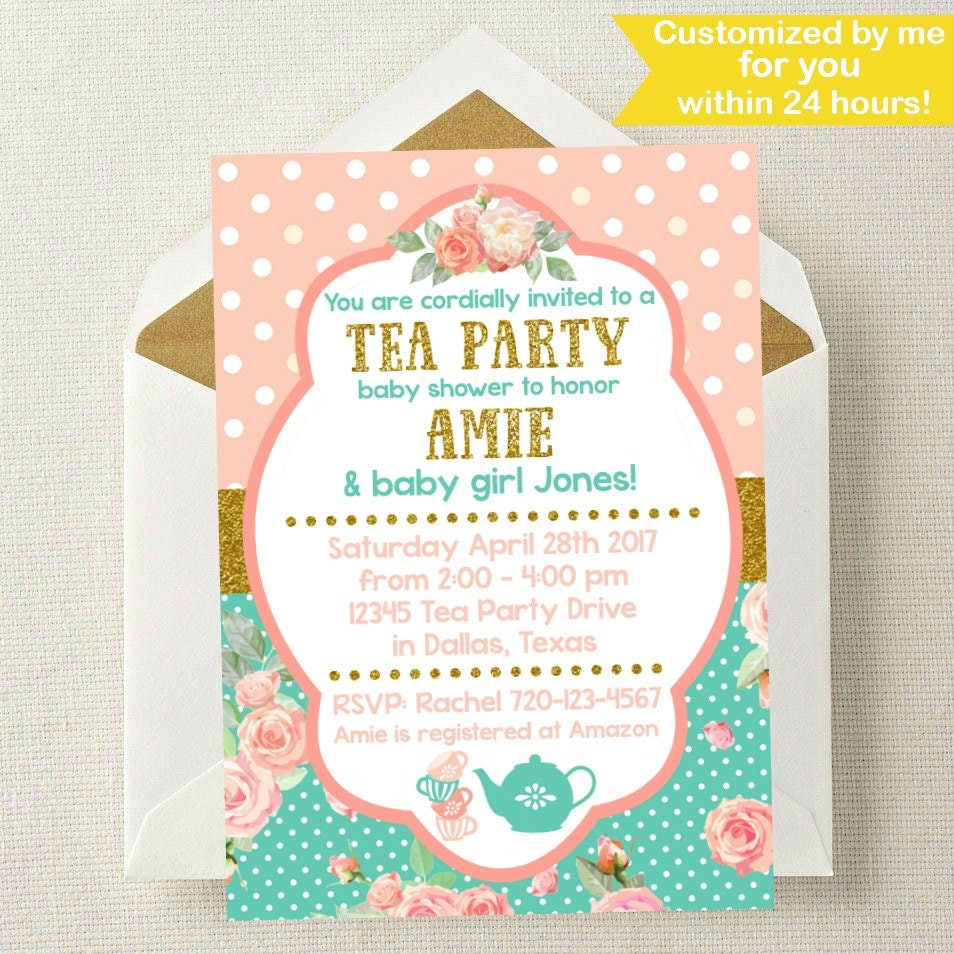 Tea Party Baby Shower Invitation // Tea Party Baby Shower