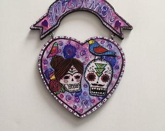 day of the dead heart sugar skull wall art dia de los muertos mixed media wall hanging