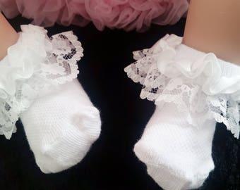 Baby girl socks, white ankle socks, Christening socks, Romany baby socks, baby frilly socks, white ankle socks, lace socks, ruffle socks