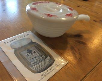 Vintage Fire King Ware Grease Drippings Jar/Pan Including Bonus Vintage Peanut Crunch Recipe Leaflet
