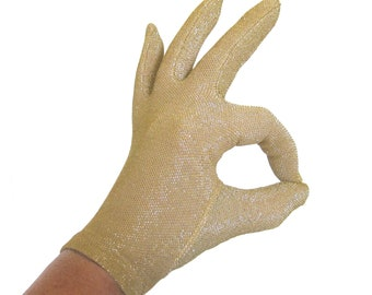 Vintage 1960s GOLD Lurex Gloves / Metallic Gold Evening Gloves / Pin Up Gloves / Fownes USA / Gold Driving Gloves / Size Small