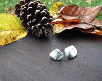 White Howlite Gemstone Stud Earrings, White Holiday Earrings, Minimalist Raw earrings, Outdoor earrings, Made local in Asheville