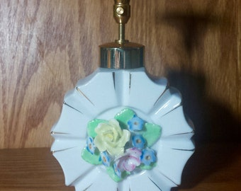 Vintage White Porcelain Perfume Bottle Floral Center with Working Atomizer