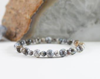 Dendritic Opal Bracelet - Custom Merlinite Bracelet - Merlinite Stretch Bracelet - Natural Stone Bracelet - Chalcedony Gemstone Bracelet