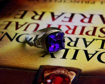 Deep Purple Rhinestone Ring Choose Your Size Gift Boxed