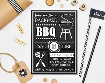 Chalkboard BBQ Invitation, BBQ Invite, BBQ invitation, Printable invite,Printable invitation, Backyard bbq, bbq party, 30th birthday party