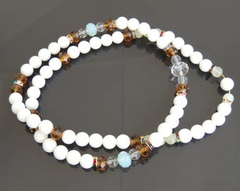 Mala Necklace! White Quartz and Crystals Necklace! Delicate Necklace!Smoked crystals beads! Quartz and Jade Necklace! Inspirational