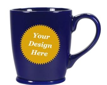 CUSTOM Coffee Mug, Navy Blue ceramic - Choose your etched design