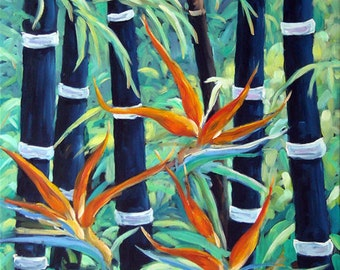 Abstract Bamboo and Birds of Paradise 04 fine arts Original Oil Painting by Richard T. Pranke