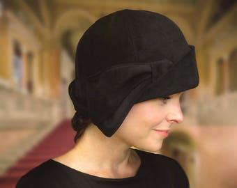 Daryn - Black Velvet Downton Abbey Cloche with Half Bow Custom Size