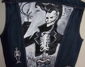 MADE TO ORDER Handpainted Vest with Handpainted Rockabilly Skeleton Skulls Horror Rock N Roll 1950s Wearable Art Please Read Description