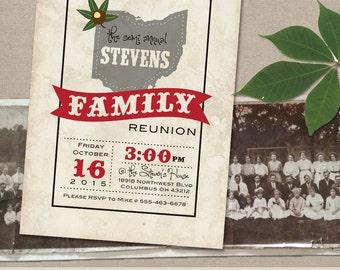 Ohio Theme Family Reunion Invitation - BBQ invitation - Outdoor Party Invitation - Digital - Print option - Party Invite - Under the Stars