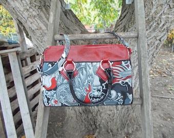 Large Blanche Barrel Bag in dragon print