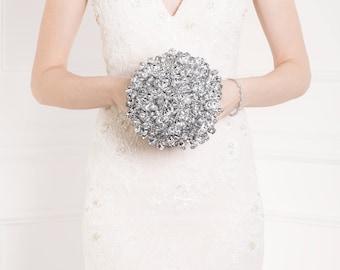 Bridal Bouquet - Wedding Bouquet of Silver Flowers - Round Wide Bouquet - Silver Bouquet, Fabulous Brooch Bouquet Alternative