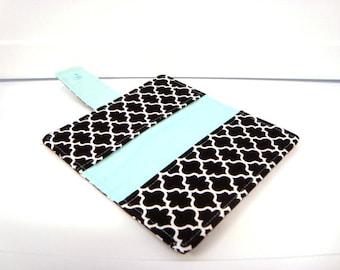 Fabric Checkbook Cover , Holder - Black and White Lattice