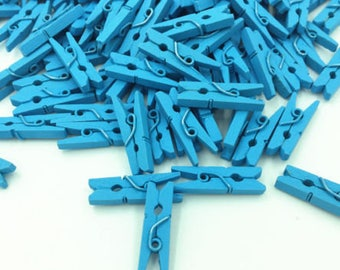 "SET of 20 1"" Mini Clothes Pins Plain Small Pretty Blue Wooden Craft Clip With Metal Spring 25mm"
