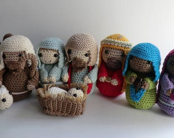 Amigurumi Nativity Español : Nativity peg doll set christmas nativity scene christmas