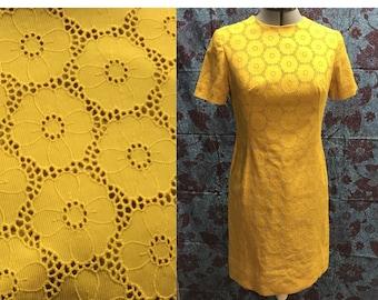 Vintage 1960s Yellow Eyelet Dress