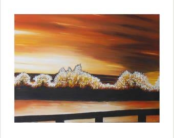 Watercolour Painting, Sunset Canvas Painting, River Landscape Painting, Acrylic Canvas, River Thames Art, River Scene Art, Orange Home Decor