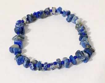 Natural Lapis Lazuli Gemstone Stretch Bracelet