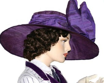 Purple Kentucky Derby Hat, Ascot Hat, Edwardian Hat, Titanic Hat, Downton Abbey Hat, Red Hat Society - Titanic Rose