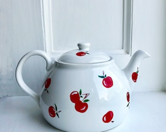 Cherry Teapot - Hand Painted Teapot (Functional) - 36 oz - Gifts for the Cherry Lover!