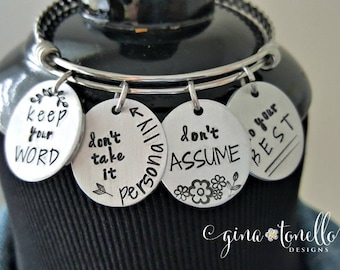 Four Agreements Bracelet, Inspirational Bracelet, 4 Agreements Jewelry, New Age Jewelry, Spiritual Bracelet, Do Your Best, Twisted Bangle