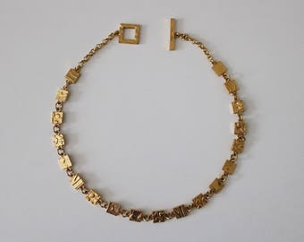90s Biche de Bere necklace - gold finish brutalist abstract modernist