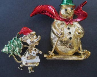 Christmas Pins * Snowman * Mouse * Classic Vintage Christmas * Lot Of Two Pins