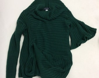 Handmade Crazy Twisted Wabi Sabi Ribbed Forest Green cotton Sweater L