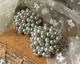 Little Gray Bead Big Clustered Earrings Unsigned Clip On 1950's Mid Century Modern Evening Wear Big Round Circular Feminine Woman Bubbles
