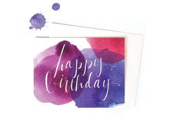 Watercolor Happy Birthday Greeting Cards Set, Handwritten Message in Magenta and Purple