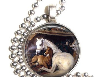 The Arab Tent 1866, Two Horses by Sir Edwin Henry Landseer, Art Pendant, Earrings and/or Keychain Round, Silver and Resin Charm Jewelry
