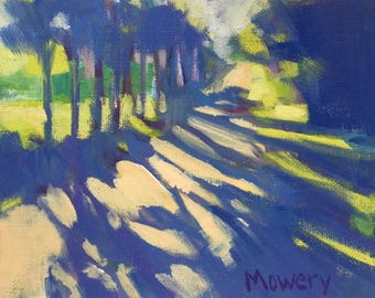 The Orange Trail unframed 5x7 inches original acrylic landscape painting of tree shadows across a long country lane by artist Barb Mowery
