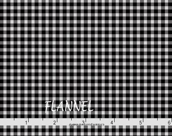 Gray & Black Gingham Check Flannel, Maywood Beautiful Basics, Welcome Home MASF 610 JJ, Black and Gray Check Cotton Flannel Yardage