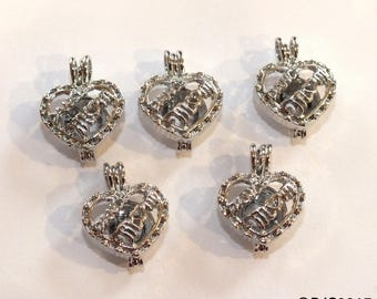 Pick A Pearl Cage Silver Plated Dance Mom Heart Love Holds Bead Gem Pearl Charm Locket 5 CHARM LOT