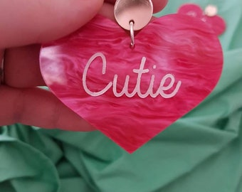 Cutie! - dark pink marble heart acrylic earrings with mirror stud toppers.