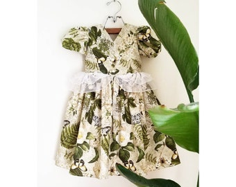 Garden Flower Girl Toddler Dress Handmade by Papoose Clothing