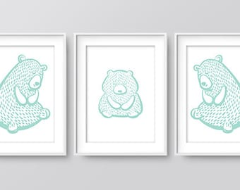 Nursery Bear Family Print (Mint), Wall Prints, Nursery Art, Home Print, Downloadable Print, Woodland Nursery, Nursery Print, Digital Art