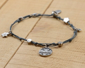 Health Solomon Seal and lucky Charms Anklet in Denim Blue