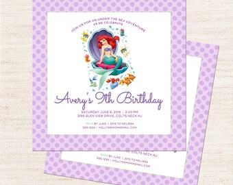 Little Mermaid Birthday Party Invitation | Little Mermaid Party Invitation Printable | Girl Birthday | Gracie Lee Design