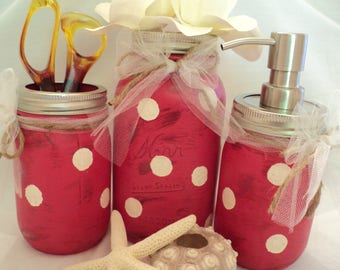Mason Jar Bath Set, Distressed Mason Jar, Mason Jar Office Set, Polka Dot Mason Jar, Wedding Mason Jar, Shabby Chic Mason Jar, Wedding Decor