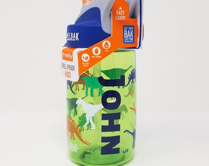 Personalized Kids CamelBak ® Water Bottle - Dinorama - Bottle - Hydrate, Custom, Bite Valve, Toddler, Dinosaurs,T Rex,Triceratops, Dino-.4L